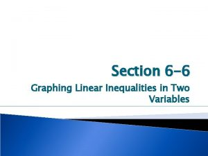 Section 6 6 Graphing Linear Inequalities in Two