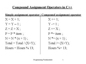 Compound Assignment Operators in C Simple assignment operator