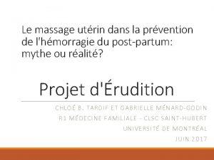 Le massage utrin dans la prvention de lhmorragie