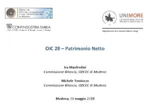 OIC 28 Patrimonio Netto Iva Manfredini Commissione Bilancio