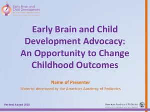 Early Brain and Child Development Advocacy An Opportunity
