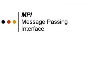 MPI Message Passing Interface Outline Background Message Passing