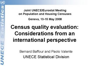 Joint UNECEEurostat Meeting on Population and Housing Censuses