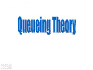 Queueing Theory l Specification of a Queue m
