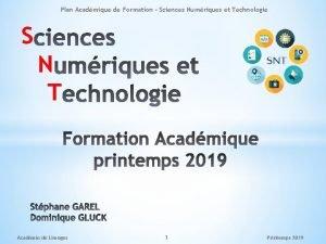 Plan Acadmique de Formation Sciences Numriques et Technologie