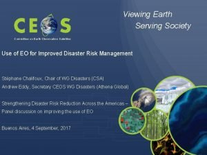 Viewing Earth Serving Society Committee on Earth Observation