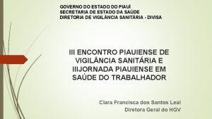 GOVERNO DO ESTADO DO PIAU SECRETARIA DE ESTADO
