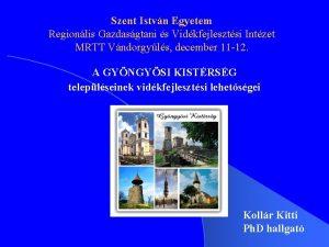 Szent Istvn Egyetem Regionlis Gazdasgtani s Vidkfejlesztsi Intzet