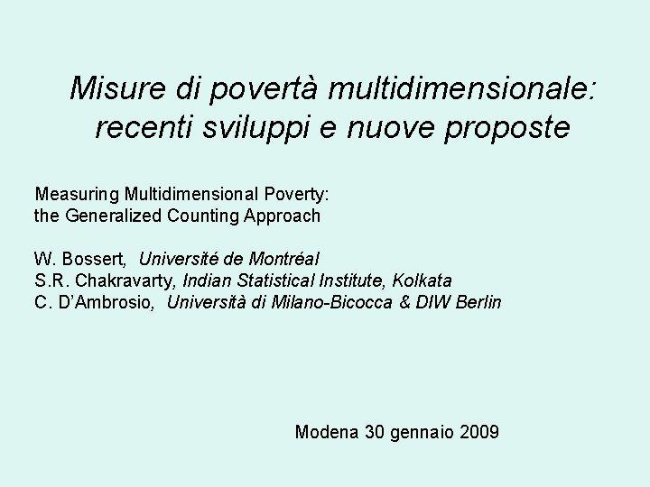 Misure di povert multidimensionale recenti sviluppi e nuove