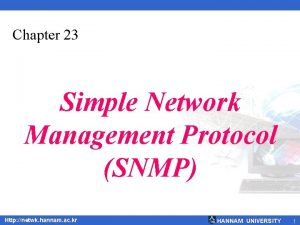 Chapter 23 Simple Network Management Protocol SNMP Http