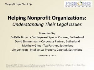 Nonprofit Legal Check Up Helping Nonprofit Organizations Understanding