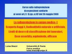 Corso sulla radioprotezione da esposizioni sanitarie ai sensi