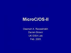 Micro COSII Osamah A Rawashdeh Darren Brown UK