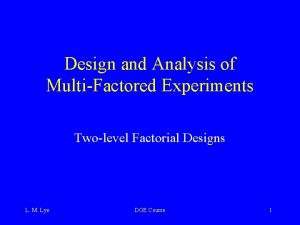 Design and Analysis of MultiFactored Experiments Twolevel Factorial