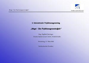 Merger Eine Projektmanagementaufgabe 2 Internationaler Projektmanagementtag Merger Eine