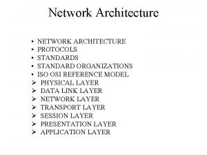 Network Architecture NETWORK ARCHITECTURE PROTOCOLS STANDARD ORGANIZATIONS ISO