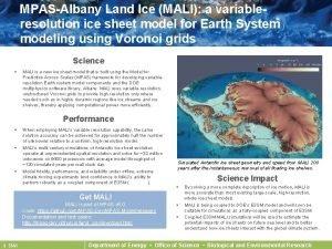 MPASAlbany Land Ice MALI a variableresolution ice sheet