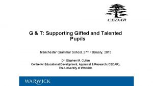 G T Supporting Gifted and Talented Pupils Manchester