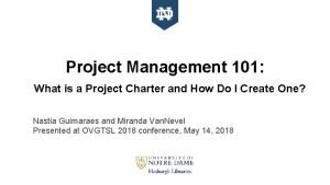 Project Management 101 What is a Project Charter