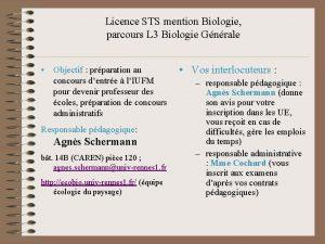 Licence STS mention Biologie parcours L 3 Biologie
