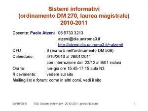Sistemi informativi ordinamento DM 270 laurea magistrale 2010