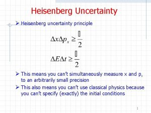Heisenberg Uncertainty Heisenberg uncertainty principle This means you