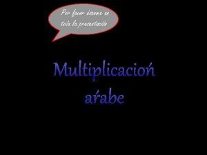 Por favor senme en toda la presentacin Multiplicacin