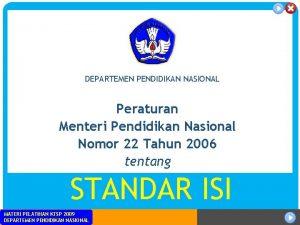 DEPARTEMEN PENDIDIKAN NASIONAL Peraturan Menteri Pendidikan Nasional Nomor