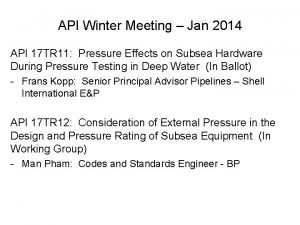 API Winter Meeting Jan 2014 API 17 TR
