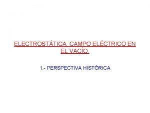 ELECTROSTTICA CAMPO ELCTRICO EN EL VACO 1 PERSPECTIVA