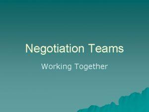 Negotiation Teams Working Together Introduction u OneonOne vs