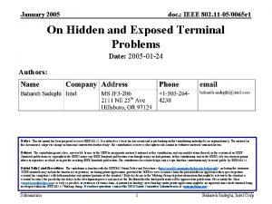 January 2005 doc IEEE 802 11 050065 r