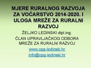 MJERE RURALNOG RAZVOJA ZA VOARSTVO 2014 2020 I