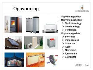 Oppvarming Oppvarmingsbehov Oppvarmingssystem Sentrale anlegg Lokale anlegg Ventilasjon
