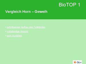 Bio TOP 1 Vergleich Horn Geweih schrittweiser Aufbau
