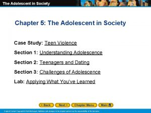 The Adolescent in Society Chapter 5 The Adolescent