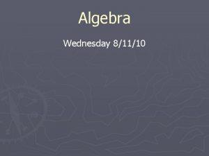 Algebra Wednesday 81110 Agenda Create math folder Create