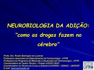 NEUROBIOLOGIA DA ADIO como as drogas fazem no
