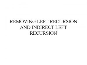 REMOVING LEFT RECURSION AND INDIRECT LEFT RECURSION DEFINITIONS
