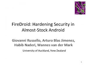Fire Droid Hardening Security in AlmostStock Android Giovanni