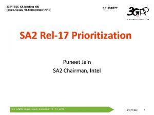 3 GPP TSG SA Meeting 86 Sitges Spain