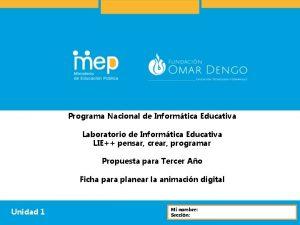 Programa Nacional de Informtica Educativa Laboratorio de Informtica