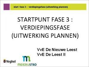 start fase 3 verdiepingsfase uitwerking plannen STARTPUNT FASE