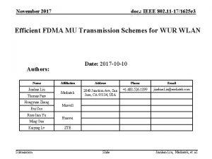 November 2017 doc IEEE 802 11 171625 r