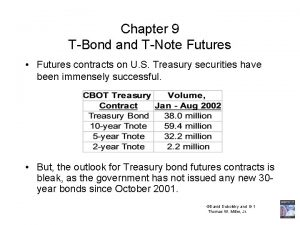 Chapter 9 TBond and TNote Futures Futures contracts