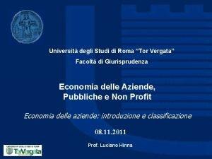 Universit degli Studi di Roma Tor Vergata Facolt