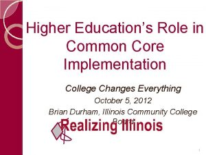 Higher Educations Role in Common Core Implementation College