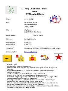 1 Rally Obedience Turnier beim HSV NeheimHsten Wann