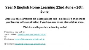 Year 5 English Home Learning 22 nd June