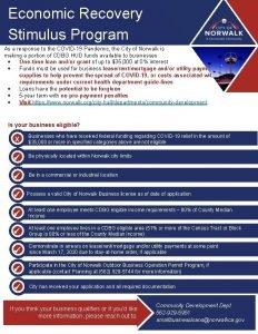 Economic Recovery Stimulus Program As a response to
